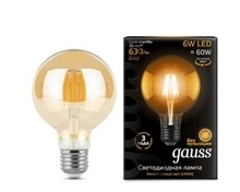 Лампа Gauss LED Filament G95 E27 6W Golden 2400K недорого
