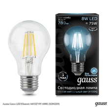 Лампа Gauss LED Filament A60 E27 8W 4100К недорого